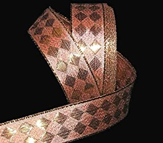 5 Yards Copper Metallic Gold Diamond Jester Harlequin Wired Ribbon Lace Trim Embroidery Applique Fabric Delicate DIY Art Craft Supply for Scrapbooking Gift Wrapping 1