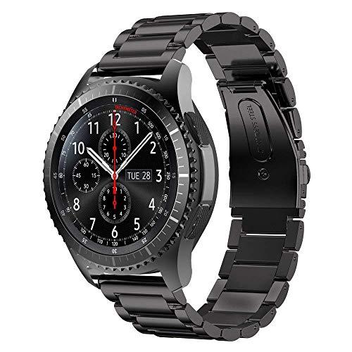 SUNDAREE Kompatibel mit Gear S3 Frontier Armband,22mm Schwarz Metallarmband Armband Edelstahl Ersatz Uhrenarmband für Samsung Gear S3 Frontier SM-R760/Samsung Gear S3 Classic SM-R770(Frontier-Black)
