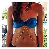Fairvir - Cadena de plata con capas para el cuerpo de la playa, bikini, collar de sujetador, joyería brillante, accesorios para el cuerpo para mujeres y niñas