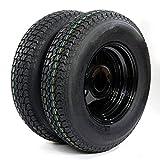 PARTS-DIYER Set of 2 13' ST175/80D13 Trailer Tires & Rims Tubeless 5 Lug 4.5' Hole Bolt Wheel Black Spoke 6PR H188 Load Range C