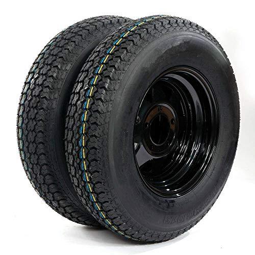 """PARTS-DIYER Set of 2 13"""" ST175/80D13 Trailer Tires & Rims Tubeless 5 Lug 4.5"""" Hole Bolt Wheel Black Spoke 6PR H188 Load Range C"""