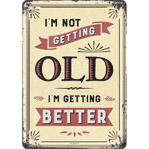 Nostalgic-Art 10307, Word Up, I'm not Getting Old, Blechpostkarte 10x14 cm, Metall, Bunt, 10 x 14 x 0.1 cm