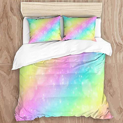 SUPERQIAO Juego de Funda nórdica, Sky Rainbow Foil Candy Space Cute Pastel Universe Color Sweet Texture Condy Abstract Stars Galaxy, Decorativo Juego de Cama de 3 Piezas con 2 Fundas de almohQDa