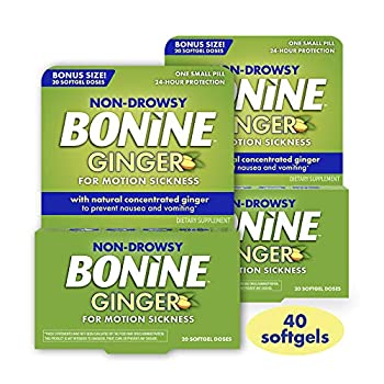 Non Drowsy Bonine Ginger for Motion Sickness with Natural Ginger 40 Count