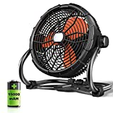 """Rovtop 12"""" High Velocity Floor Fan, Rechargeable Outdoor Indoor Fan, 15000 mAH Cordless Portable Battery Operated Fan Run for 4.5-18 Hours, 360° Adjustable Tilt Industrial Camping Fan with Led Light, Stepless Speed Switch for Industrial, Commercial, Residential"""