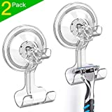LUXEAR Shower Suction Hooks, 2 Pack Suction Hooks Removable and...