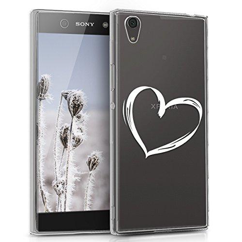 kwmobile Hülle kompatibel mit Sony Xperia XA1 Ultra - Handyhülle - Handy Hülle Herz Brush Weiß Transparent