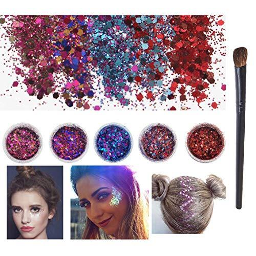 5 stks Body Face Cosmetica Chunky Glitters Gemengde Festival Party Holografische Glitter voor Make-up Nagel Haar Wangen met een oogschaduw borstel