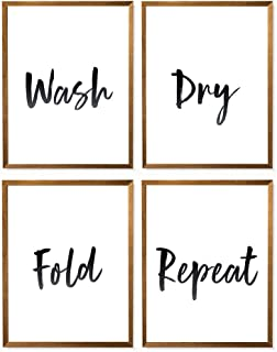 Wash Dry Fold Repeat Print, Printable Art, Funny Sign Poster, Laundry Room Decor, Laundry Wall Print, Great Typography Gift, Home Wall Decor - Set of 4-8x10 - Unframed