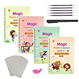 Magic Practice Copybook,4Pcs Magic Reusable Handwriting English Alphabet Copy Books for Kids with Automatic Vanishing Pen(Drawing Template As Gift)