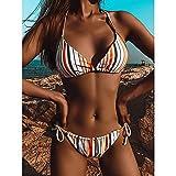 maozuzyy Bikinis Bañador Mujer Mujeres Sexy Bandeau Vendaje Push Up Solid Bikini Set Ropa De Playa Traje De Baño De Dos Piezas-Naranja_S