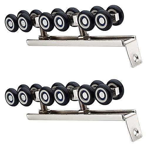 Ruedas 1 par/conjunto de acero enrollado en frío Cerrojo de puerta de madera kit de hardware ruedas ruedas rodillo 12 ruedas perchas rodillo Reemplazo de ruedas giratorias de estilo