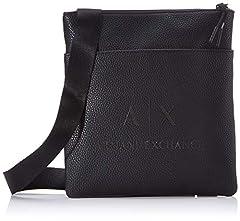 Idea Regalo - Armani Exchange Small Flat Crossbody Bag - Borsa Messenger Uomo, Nero (Black/Gun Metal), 22.5x2x21 cm (B x H T)