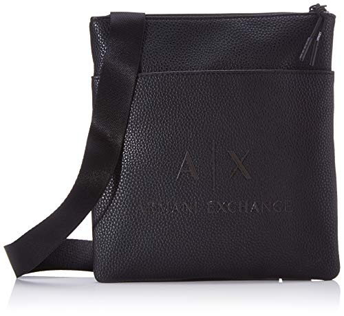 Armani Exchange Herren Small Flat Crossbody Bag Business Tasche Schwarz (Black/Gun Metal)