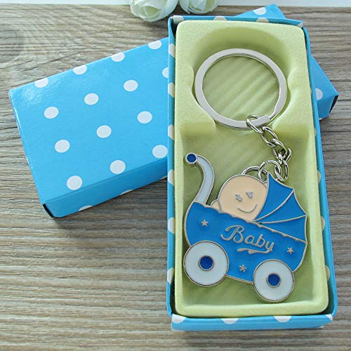 Baby Shower Stroller (12PCCS) Party Favor for Boy Blue Key Ring Recuerdos de mi Baby Shower de Niño Blue Gift Box