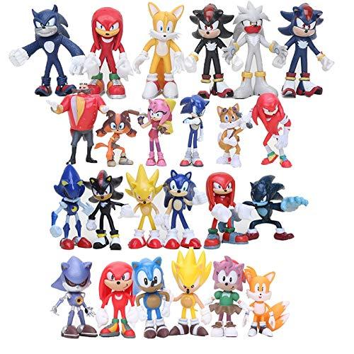 Figura de Sonic 24 unids/Set Sonic Figure Sonic Shadow Tails Super Sonic Figura Juguetes para niños...