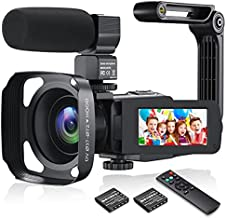 Video Camera Camcorder WiFi 36MP Digital Camera 1080P FHD Video Recorder for YouTube Vlogging IR Night Vision 3.0'' IPS Screen with Remote Control, External Microphone, Handheld Stabilizer