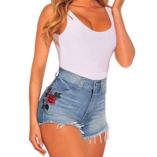 Mujer Verano Vintage Jeans Impreso Cintura Alta Hole Short Jeans Denim Shorts Azul ES 36/Cintura 66 cm