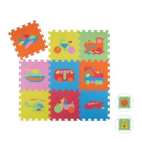 Relaxdays 10023481_823 Tappeto Bambini Puzzle, Tappetino Gioco Bimbi, Gommapiuma EVA, Atossico, BPA-Free, 90x90 cm, Veicoli, Colorato