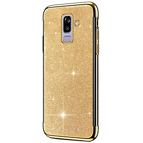 Hpory Cover Samsung J8 2018, Custodia Samsung Galaxy J8 2018 - Glitter Brillante Silicone Custodia Morbido Gel TPU Cover Back Case Antiurto Custodia Protettiva Bumper [Shock-Absorption], Oro