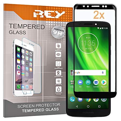 REY Pack 2X Panzerglas Schutzfolie für Motorola Moto G6 Play, Schwarz, Displayschutzfolie 9H+, Polycarbonat, Härte, Anti-Kratzen, Anti-Öl, Anti-Bläschen, 3D / 4D / 5D