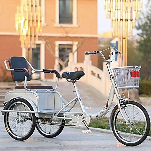 Triciclo para Adultos Bicicleta 20 Pulgadas Adultos Triciclos 3 Motos De Ruedas con Asiento De Respaldo Y Cesta De Compras Tres Ruedas Crucero Bicicleta, Carga 240 Kg(Color:Plata)