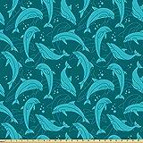 Lunarable Delfin-Stoff von The Yard, Cartoon-Stil Delfine