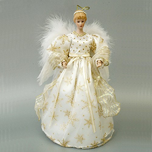 Cosette, puntale natalizio a forma di angelo, con decorazioni a fiocco di neve sul vestito e ali, Gold, 365 cm ca.