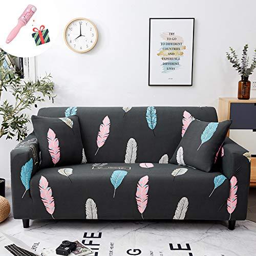 Funda para sofá de 1 2 3 4 plazas, Morbuy Planta Impresión Estampada Antideslizante Elastic Extensible Cubierta de Sofá Cubre Sofá Funda Sofa Couch Cover Protector (3 plazas,Pluma de Color)