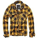 Camisa de franela a cuadros Brandit para hombre Negro, amarillo M