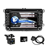 CD DVD Autoradio per VW GPS Navigation CAMECHO Touch Screen da 7 pollici Bluetooth Car Stereo Player Radio FM USB per Golf POLO Touran Tiguan Seat Altea + Telecamera