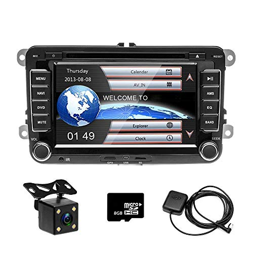 CAMECHO 17,8 cm Auto CD DVD Player GPS Sat NAV Stereo Touchscreen Autoradio für VW Passat Golf Transporter T5 + 4 LED Mini Kamera Night Vision