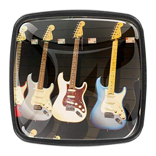 4 piezas colorido cristal armario armario cajón puerta tirador manija instrumentos musicales guitarra 30mm