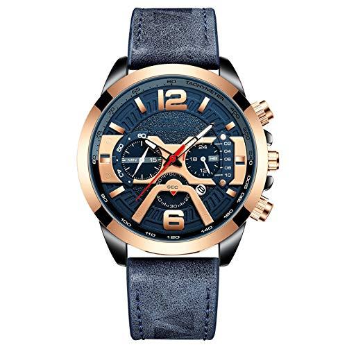 RHJK Relojes para Hombres, 3ATM Multifunción al Aire Libre Impermeable, Reloj Informal Decorativo de Seis Pines, Reloj de Pulsera de cinturón para Hombres, con Reloj DEPO D