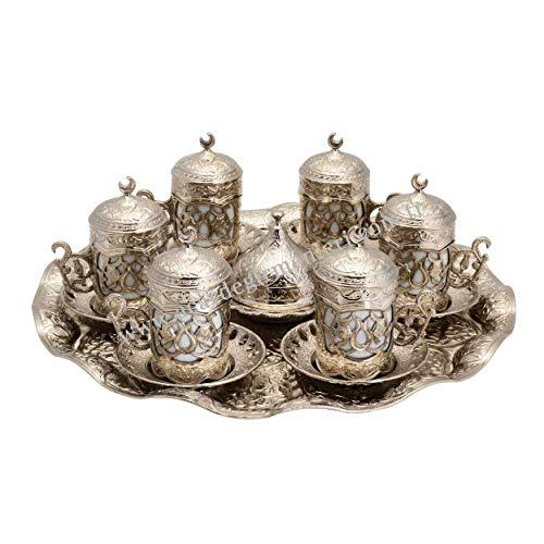 Türkisch/griechisch/arabische Kaffeetasse mit Untertasse, Geschenk-Set (Silber)