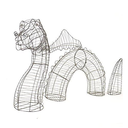 XL Gartenfigur Wasser Drachen Nessie Gartendrache 3 teilig für Buxus Moos
