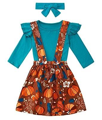 Toddler Baby Girls Halloween Suspender Skirt Set Fashion Long Sleeve Double Shoulder Ruffle Shirts Funny Pumpkin Knee Length Stap Dress Outfits 2-3T