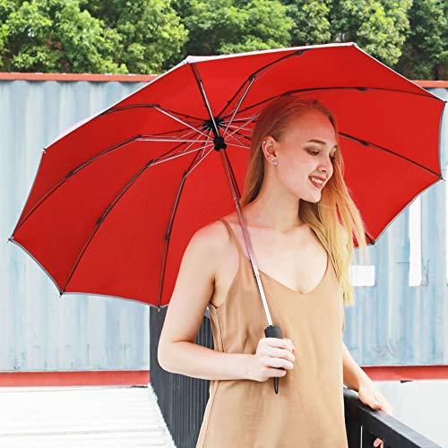 bxm Paraguas automático con funda de cuero reversible plegable paraguas de negocios...