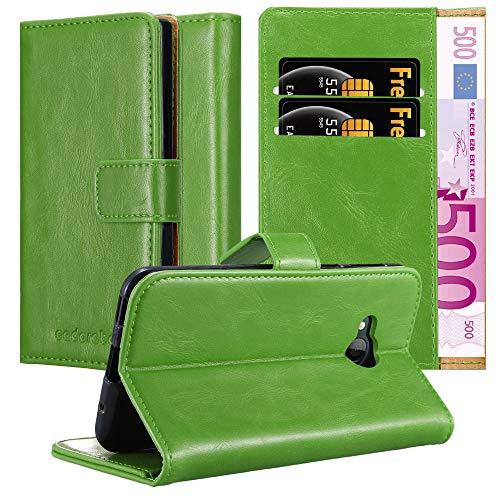 Cadorabo Hülle für HTC U Play - Hülle in Gras GRÜN – Handyhülle im Luxury Design mit Kartenfach & Standfunktion - Hülle Cover Schutzhülle Etui Tasche Book