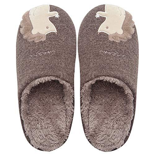 Zapatillas De Algodón De Los Hombres Otoño E Invierno Inicio Zapatos De Algodón De Interior Erizo De Bordado Impermeable Antideslizante Desodorante De Sudor Mudo Amantes De,Darkgray,L(40/41Yards)