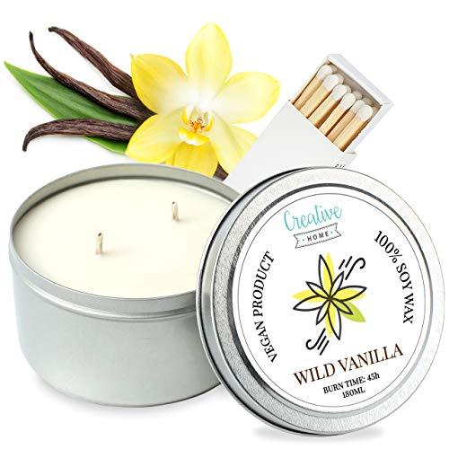 Creative Home 45 Uur Brandtijd Wilde Vanille Soyawas Kaars | 180 ml Handgemaakt 100% Vegan Geur | Bio-aromatische Oliën | Perfect voor Stressverlichting, Aromatherapie of Cadeau