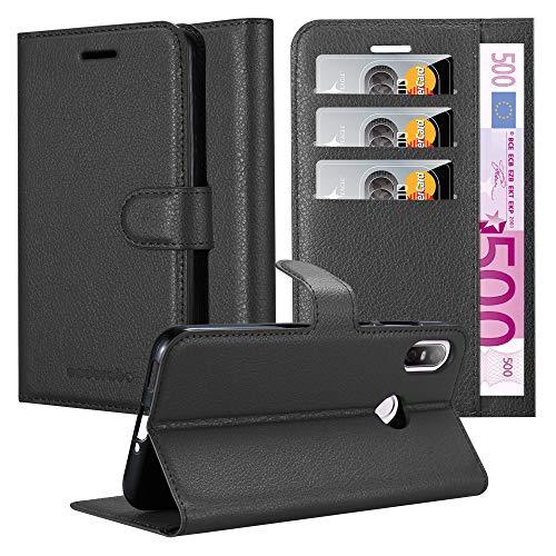 Cadorabo Hülle für HTC U12 Life in Phantom SCHWARZ - Handyhülle mit Magnetverschluss, Standfunktion und Kartenfach - Case Cover Schutzhülle Etui Tasche Book Klapp Style