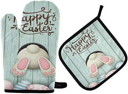 Happy Easter Day Colorful Bunny Oven Mitts and Pot Holders Sets Spring Easter Rabbit Oven Gloves product image