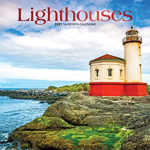 Lighthouses 2021 7 x 7 Inch Monthly Mini Wall Calendar with Foil Stamped Cover, Ocean Sea Coast
