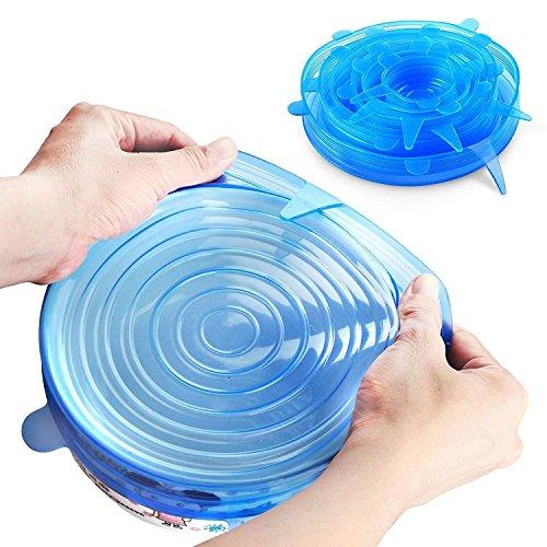 Silikondeckel Dehnbar Einmach-Deckel Stretch Wiederverwendbar Frischhalte Deckel 6 Stück in Diversen Größen Silikon Schließen Abdeckung für Schüssel, Teller, Becher, Dosen (Blau)