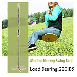 HAHALE 30Cm Round Garden Tree Swing Wooden Kids Toy Swing Outdoor/Indoor Hanging Children Playing Seat Gifts 1.8M Rope 220IBS Safe