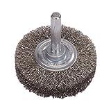 LESSMANN Entrostungsbürste 30 x 9 x 6 mm feiner gewellter Stahldraht Schrubber, Zubehör für Akkuschrauber