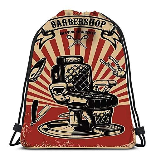 GeorgoaKunk Mochilas con cordón Silla de peluquería en Elemento de diseño de Grunge Etiqueta de Emblema Cordón Mochila de Senderismo Bolsa de Gimnasio