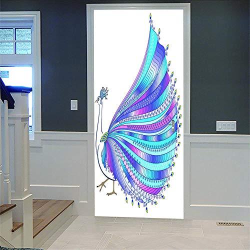 Pegatinas Para Puerta De Pared 3D Hermoso Pavo Real Adhesivo Para Puerta Con Efecto 3D,Diseño De Para Cocina,Salón,Dormitorio,Cuarto De Baño,Estilo De Papel Pintado Para Paredes Decoración