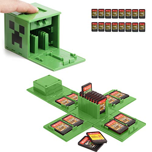 Switch Game Card Case, Game Card Holder for Nintendo Switch Games with 16 Card Slots, Fun Gift for Kids (Minecraft Green)